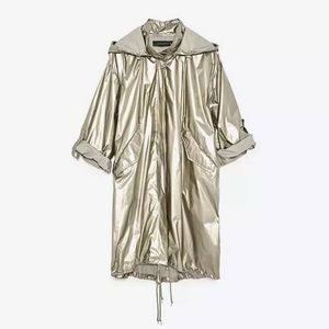 Zara Metallic Light Weight Winderbreaker Jacket